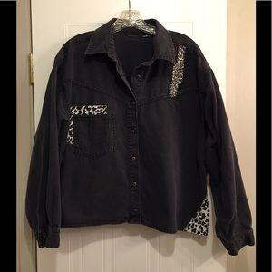 Tops - Black Jean Material Blouse Sz 3X
